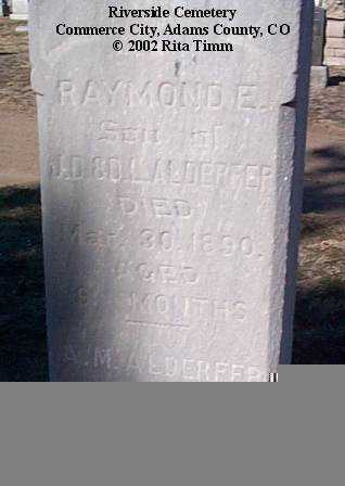ALDERFER, RAYMOND E. - Adams County, Colorado | RAYMOND E. ALDERFER - Colorado Gravestone Photos