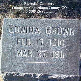 BROWN, EDWINA - Adams County, Colorado | EDWINA BROWN - Colorado Gravestone Photos