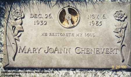 CHENEVERT, MARY JOANN - Adams County, Colorado   MARY JOANN CHENEVERT - Colorado Gravestone Photos