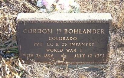 BOHLANDER (VETERAN WWI), GORDON H - Baca County, Colorado | GORDON H BOHLANDER (VETERAN WWI) - Colorado Gravestone Photos