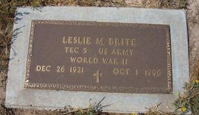 BRITE (VETERAN WWII), LESLIE MONTE - Baca County, Colorado | LESLIE MONTE BRITE (VETERAN WWII) - Colorado Gravestone Photos