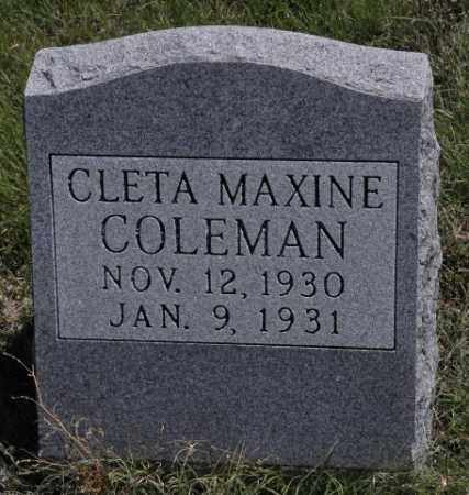 COLEMAN, CLETA MAXINE - Bent County, Colorado | CLETA MAXINE COLEMAN - Colorado Gravestone Photos