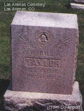 TAYLOR, MARSHALL A. - Bent County, Colorado | MARSHALL A. TAYLOR - Colorado Gravestone Photos