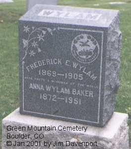 WYLAM, FREDERICK E. - Boulder County, Colorado | FREDERICK E. WYLAM - Colorado Gravestone Photos