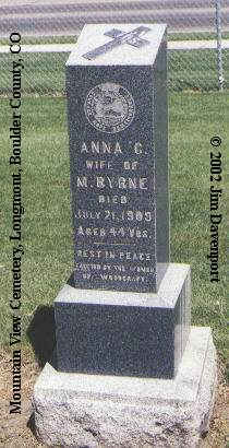 BYRNE, ANNA C. - Boulder County, Colorado | ANNA C. BYRNE - Colorado Gravestone Photos