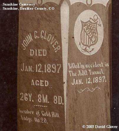 GLOVER, JOHN C. - Boulder County, Colorado   JOHN C. GLOVER - Colorado Gravestone Photos