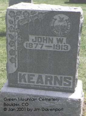 KEARNS, JOHN W. - Boulder County, Colorado | JOHN W. KEARNS - Colorado Gravestone Photos
