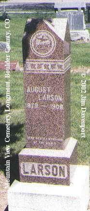 LARSON, AUGUST - Boulder County, Colorado | AUGUST LARSON - Colorado Gravestone Photos