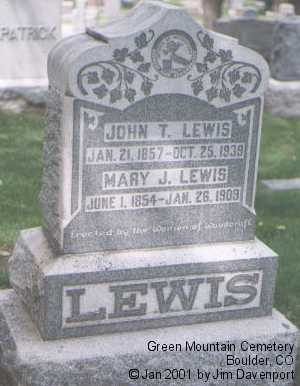 LEWIS, JOHN T. - Boulder County, Colorado | JOHN T. LEWIS - Colorado Gravestone Photos