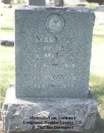 MATHEWS, MARY - Boulder County, Colorado | MARY MATHEWS - Colorado Gravestone Photos