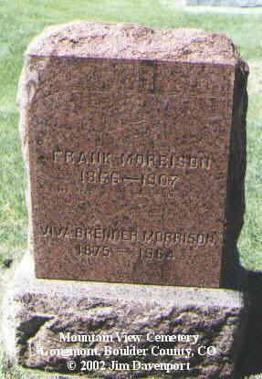 MORRISON, FRANK - Boulder County, Colorado | FRANK MORRISON - Colorado Gravestone Photos