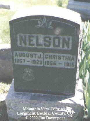 NELSON, AUGUST J. - Boulder County, Colorado | AUGUST J. NELSON - Colorado Gravestone Photos