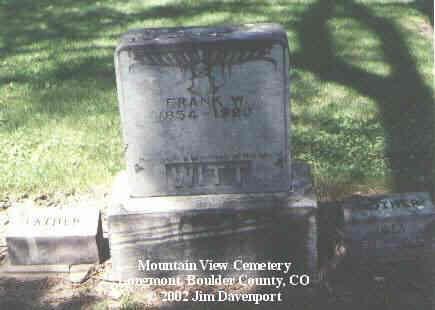 WITT, FRANK W. - Boulder County, Colorado | FRANK W. WITT - Colorado Gravestone Photos