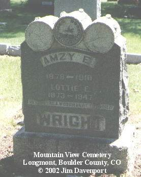 WRIGHT, AMZY E. - Boulder County, Colorado | AMZY E. WRIGHT - Colorado Gravestone Photos