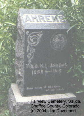 AHERNS, THEO. H. L. - Chaffee County, Colorado | THEO. H. L. AHERNS - Colorado Gravestone Photos