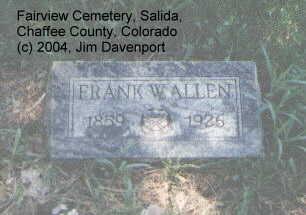 ALLEN, FRANK W. - Chaffee County, Colorado | FRANK W. ALLEN - Colorado Gravestone Photos