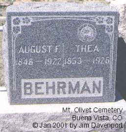 BEHRMAN, AUGUST F. - Chaffee County, Colorado | AUGUST F. BEHRMAN - Colorado Gravestone Photos
