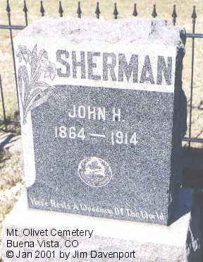 SHERMAN, JOHN H. - Chaffee County, Colorado | JOHN H. SHERMAN - Colorado Gravestone Photos