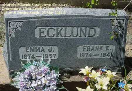 ECKLUND, FRANK E. - Clear Creek County, Colorado | FRANK E. ECKLUND - Colorado Gravestone Photos