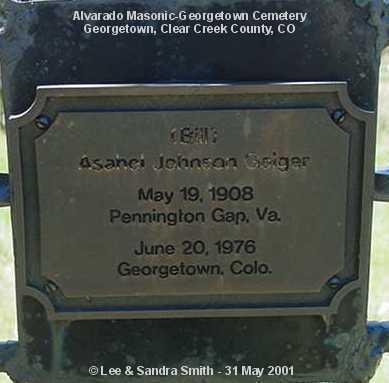 GEIGER, ASANEL JOHNSON - Clear Creek County, Colorado | ASANEL JOHNSON GEIGER - Colorado Gravestone Photos