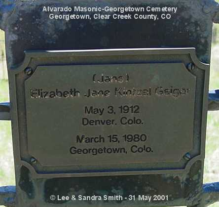 GEIGER, ELIZABETH JAN - Clear Creek County, Colorado | ELIZABETH JAN GEIGER - Colorado Gravestone Photos