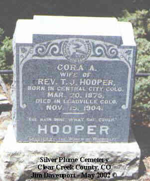 HOOPER, CORA A. - Clear Creek County, Colorado | CORA A. HOOPER - Colorado Gravestone Photos