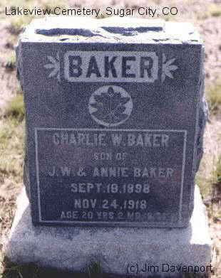 BAKER, CHARLIE W. - Crowley County, Colorado | CHARLIE W. BAKER - Colorado Gravestone Photos
