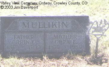 MULLIKIN, CORA E. - Crowley County, Colorado | CORA E. MULLIKIN - Colorado Gravestone Photos