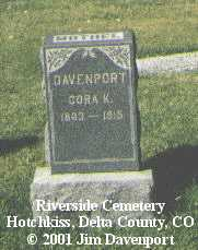 DAVENPORT, CORA K. - Delta County, Colorado | CORA K. DAVENPORT - Colorado Gravestone Photos