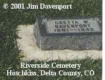 DAVENPORT, GRETTA W. - Delta County, Colorado | GRETTA W. DAVENPORT - Colorado Gravestone Photos