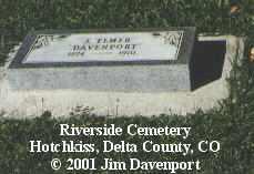 DAVENPORT, J. ELMER - Delta County, Colorado   J. ELMER DAVENPORT - Colorado Gravestone Photos