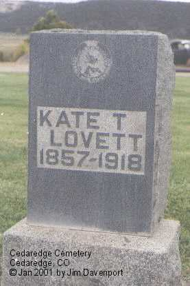 LOVETT, KATE T. - Delta County, Colorado | KATE T. LOVETT - Colorado Gravestone Photos