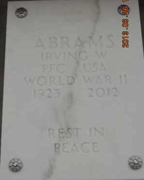 ABRAMS, IRVING W - Denver County, Colorado   IRVING W ABRAMS - Colorado Gravestone Photos