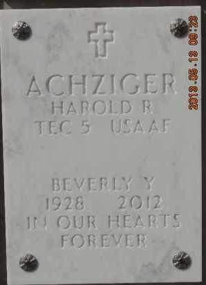 ACHZIGER, BEVERLY Y - Denver County, Colorado | BEVERLY Y ACHZIGER - Colorado Gravestone Photos