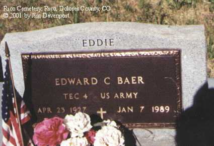 "BAER, EDWARD C. ""EDDIE"" - Dolores County, Colorado 