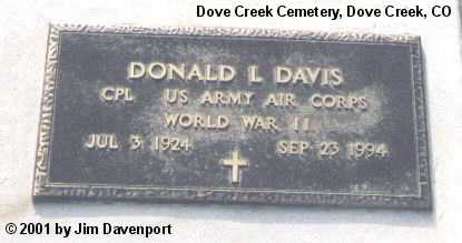 DAVIS, DONALD L. - Dolores County, Colorado | DONALD L. DAVIS - Colorado Gravestone Photos