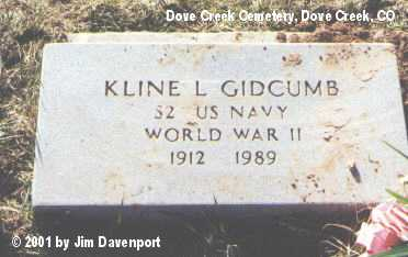GIDCOMB, KLINE L. - Dolores County, Colorado | KLINE L. GIDCOMB - Colorado Gravestone Photos