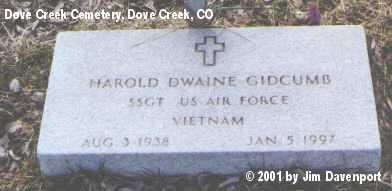 GIDCUMB, HAROLD DWAINE - Dolores County, Colorado | HAROLD DWAINE GIDCUMB - Colorado Gravestone Photos