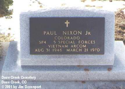 NIXON, JR., PAUL - Dolores County, Colorado | PAUL NIXON, JR. - Colorado Gravestone Photos