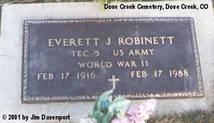 ROBINETT, EVERETT J. - Dolores County, Colorado | EVERETT J. ROBINETT - Colorado Gravestone Photos