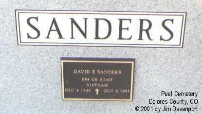 SANDERS, DAVID E. - Dolores County, Colorado | DAVID E. SANDERS - Colorado Gravestone Photos