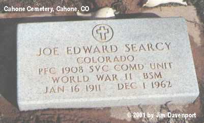 SEARCY, JOE EDWARD - Dolores County, Colorado   JOE EDWARD SEARCY - Colorado Gravestone Photos