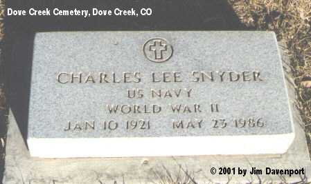 SNYDER, CHARLES LEE - Dolores County, Colorado | CHARLES LEE SNYDER - Colorado Gravestone Photos