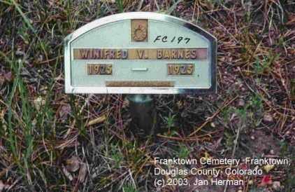 BARNES, WINIFRED V. - Douglas County, Colorado | WINIFRED V. BARNES - Colorado Gravestone Photos