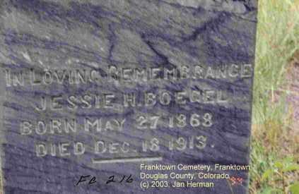 BOEGEL, JESSIE H. - Douglas County, Colorado   JESSIE H. BOEGEL - Colorado Gravestone Photos