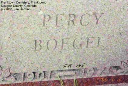 BOEGEL, PERCY - Douglas County, Colorado | PERCY BOEGEL - Colorado Gravestone Photos