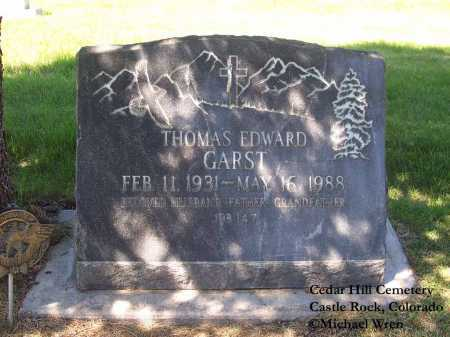 GARST, THOMAS EDWARD - Douglas County, Colorado   THOMAS EDWARD GARST - Colorado Gravestone Photos