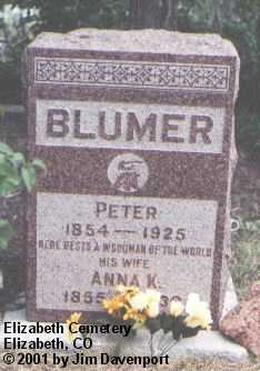 BLUMER, PETER - Elbert County, Colorado | PETER BLUMER - Colorado Gravestone Photos