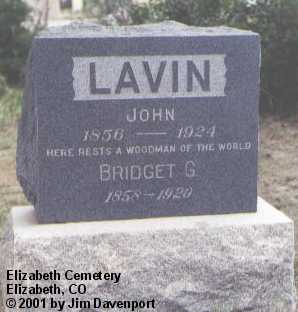 LAVIN, BRIDGET G. - Elbert County, Colorado   BRIDGET G. LAVIN - Colorado Gravestone Photos