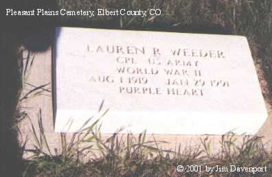 WEEDER, LAUREN R. - Elbert County, Colorado | LAUREN R. WEEDER - Colorado Gravestone Photos